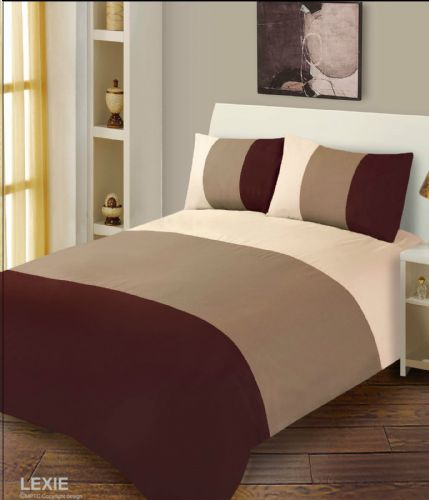 CHOCOLATE BROWN & CREAM DUVET COVER MICROFIBRE BEDDING